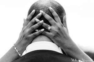 I Love this man. Our wedding day with both my rings and hands around him. Photo by: Melissa Mercado Photography