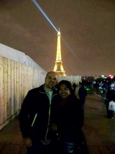 Eiffel Tower at night is stunning! Do use flash on your camera, unlike what we did.
